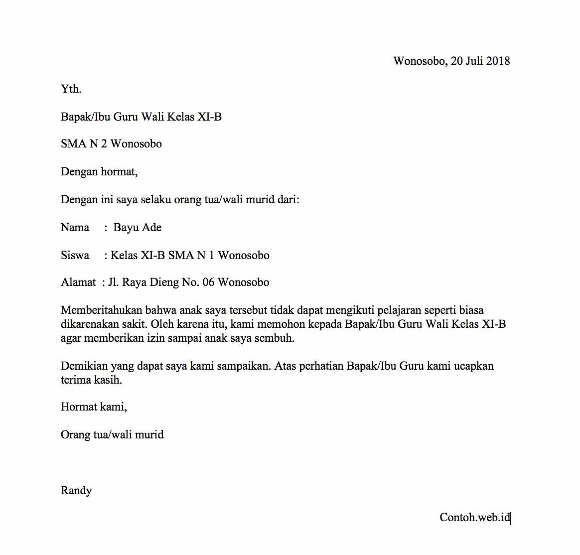 3 Contoh Surat Izin Sakit Tidak Masuk Sekolah Kerja