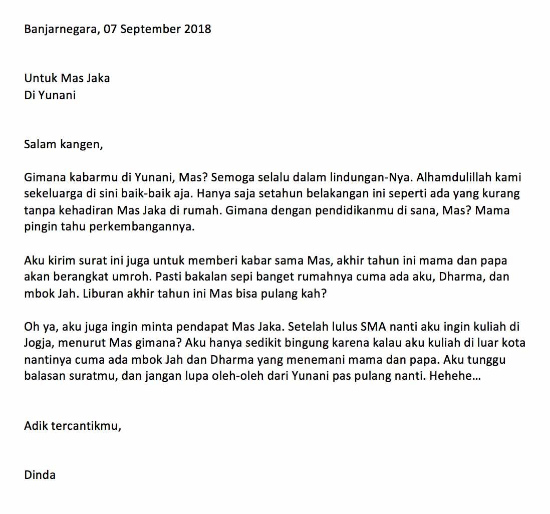 2 Contoh Surat Pribadi Singkat Untuk Kakak Guru