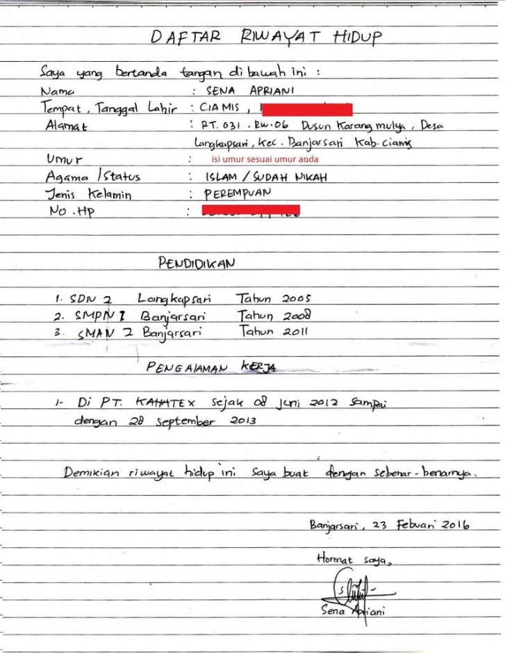 Contoh Daftar Riwayat Hidup Hd