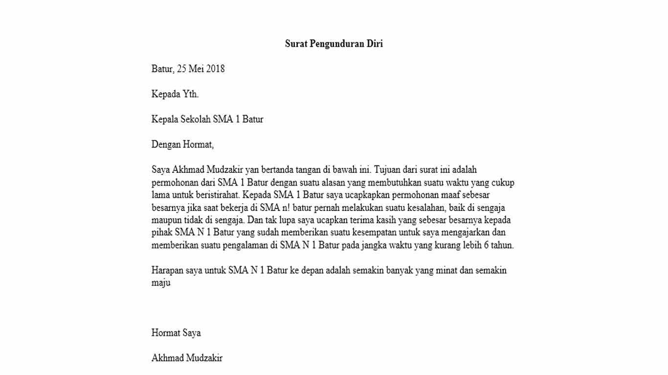 Surat resign guru