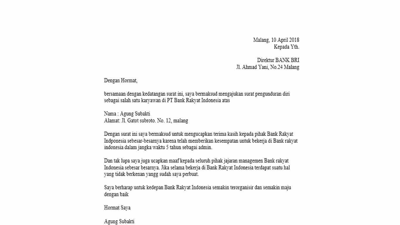 surat resign bank