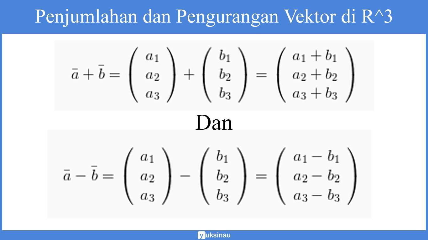 Penjumlahan dan Pengurangan Vektor Matematika di R3