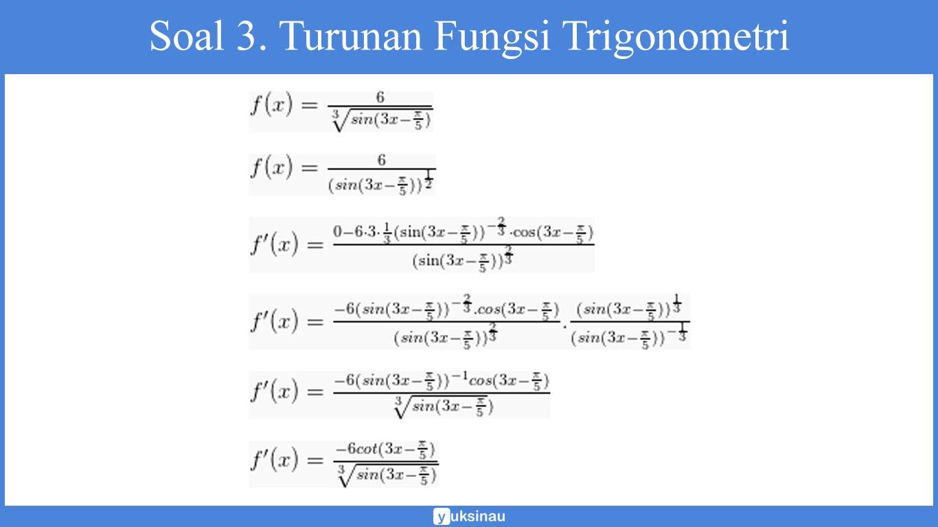 contoh soal turunan fungsi aljabar kelas 12