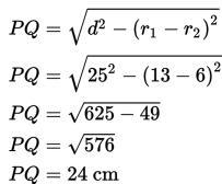 panjang garis singgung persekutuan luar PQ