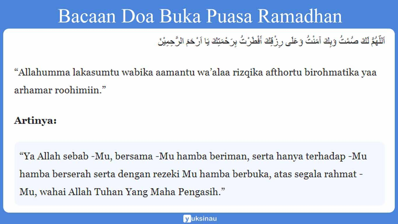 Bacaan Doa Buka Puasa Ramadhan
