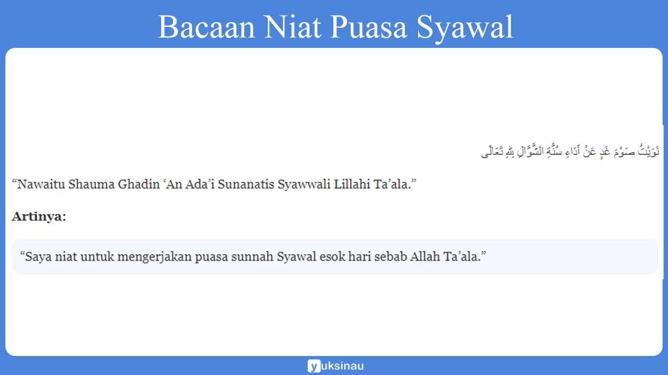 Bacaan Niat Puasa Syawal