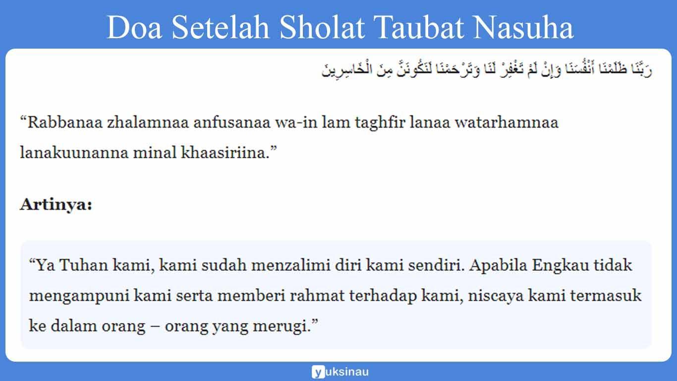 Doa Setelah Sholat Taubat Nasuha