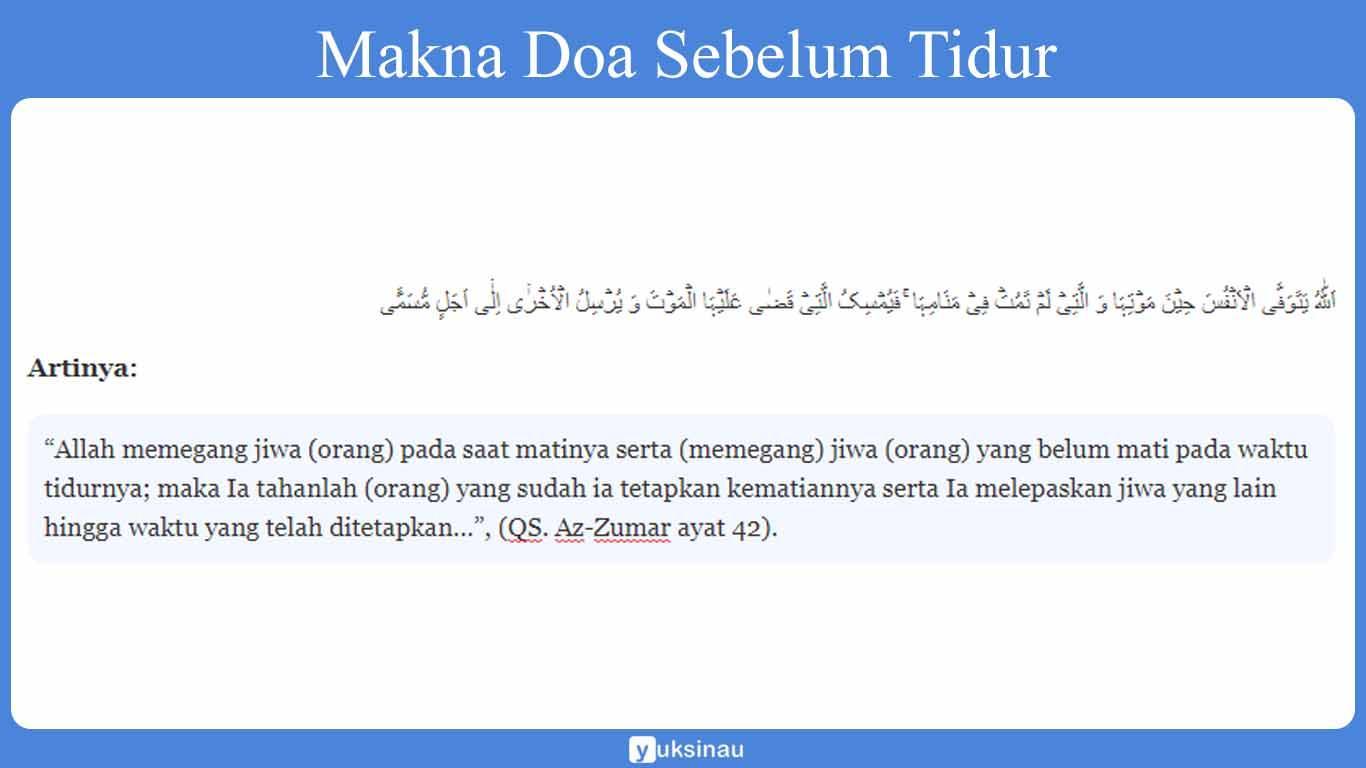 Makna Doa Sebelum Tidur