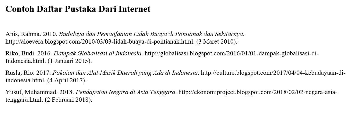 Contoh Daftar Pustaka Dari Internet