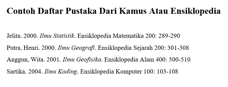 Contoh Daftar Pustaka Dari Kamus Atau Ensiklopedia