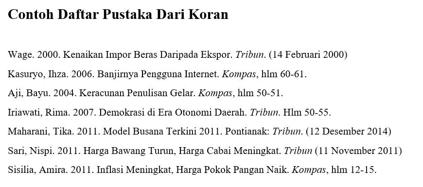 Contoh Daftar Pustaka Dari Koran
