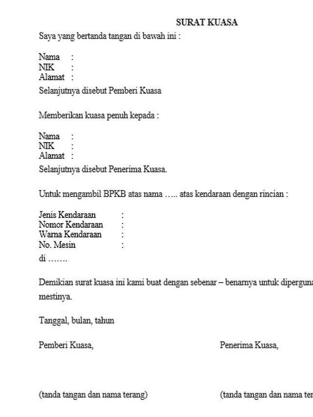 Surat Pengambilan BPKB