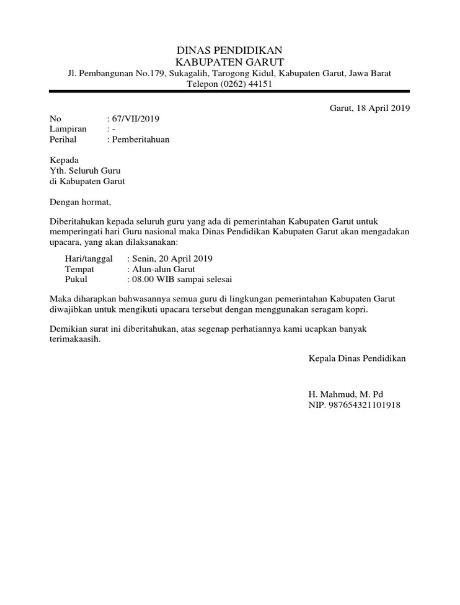 contoh surat dinas pdf