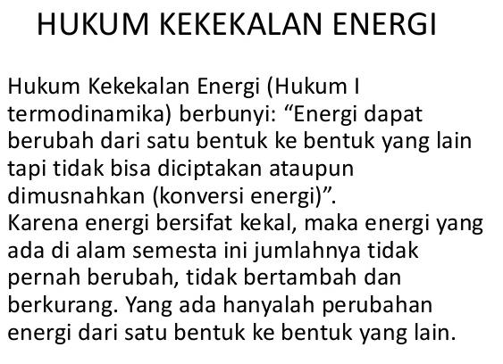 jelaskan hukum kekekalan energi
